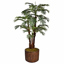 "71"" Tall Palm Tree Artificial Decorative  Faux with Burlap Kit In 12.8"" Brown Wood-like Fiberstone Planter"
