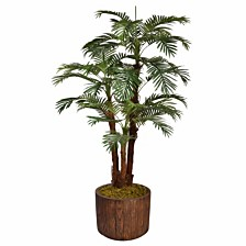 "Laura Ashley 71"" Tall Palm Tree Artificial Decorative  Faux with Burlap Kit In 12.8"" Brown Wood-like Fiberstone Planter"