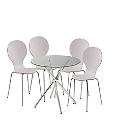 Carrisa Glass Table with Wood Chair Collection Set of 5 Pieces