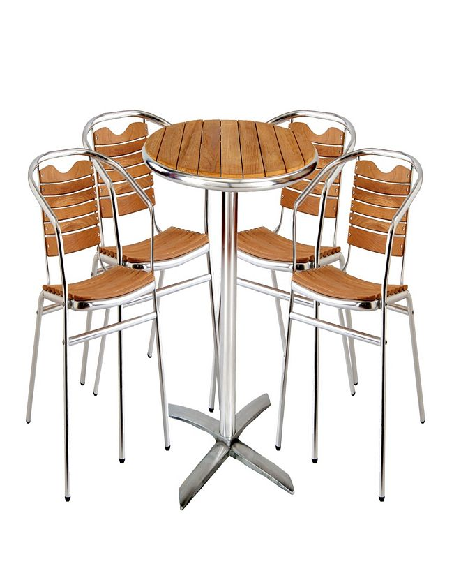 New Spec Inc Outdoor Round Bistro Dining Set of 5 Pieces