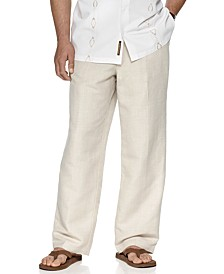 "Big and Tall Drawstring Linen-Blend 32"" Length Pants"