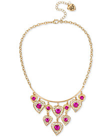 "Betsey Johnson Gold-Tone Stone & Crystal Shaky Heart Collar Necklace, 16"" + 3"" extender"