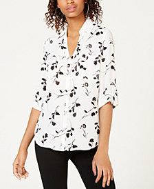 BCX Juniors' Printed Button-Up Shirt