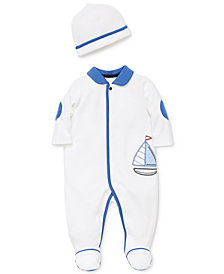 Little Me Baby Boys 2-Pc. Sailboat Cotton Coverall & Hat Set