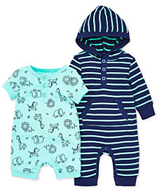 Little Me Baby Boys 2-Pc. Printed Cotton Romper & Striped Coverall Set