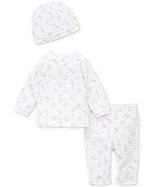 Little Me Baby Boys or Girls 3-Pc. Printed Cotton Cardigan, Pants & Hat Set