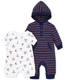 Little Me Baby Boys 2-Pc. Sailboat Romper & Hooded Coverall Set
