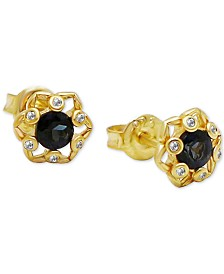 Kesi Jewels London Blue Topaz (1/2 ct. t.w.) and Diamond Accent Stud Earrings in 18k Gold over Sterling Silver