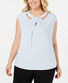 Kasper Plus Size Crossover-Neck Top