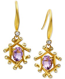 Kesi Jewels Pink Amethyst (1-1/2 ct. t.w.) and Diamond Accent Drop Earrings in 18k Gold over Sterling Silver