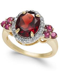 Garnet (3-5/8 ct. t.w.) & Diamond (1/4 ct. t.w.) Ring in 10k Gold