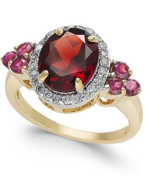 Macy's Garnet (3-5/8 ct. t.w.) & Diamond (1/4 ct. t.w.) Ring in 10k Gold