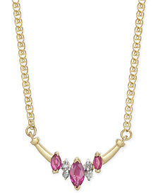 "Ruby (5/8 ct. t.w.) & Diamond Accent 16"" Necklace in 14k Gold"