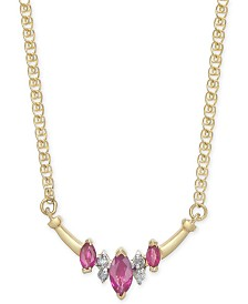 """Ruby (5/8 ct. t.w.) & Diamond Accent 16"""" Necklace in 14k Gold"""