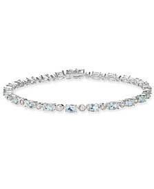 Aquamarine (5-3/4 ct. t.w.) & White Topaz (7/8 ct. t.w.) Tennis Bracelet in Sterling Silver (Also Available In Blue Topaz, Opal and Peridot)
