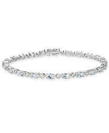 Aquamarine (5-3/4 ct. t.w.) & White Topaz (7/8 ct. t.w.) Tennis Bracelet in Sterling Silver