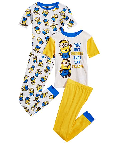Despicable Me Little Big Boys 4 Pc Minions Cotton Pajama Set