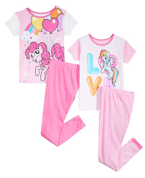 AME Little & Big Girls 4-Pc. My Little Pony Cotton Pajama Set
