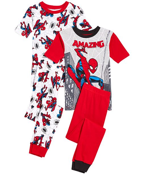 AME Spider-Man Little & Big Boys 4-Pc. Spider-Man Cotton Pajama Set