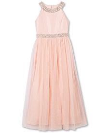 Speechless Little Girls Beaded Satin Maxi Dress