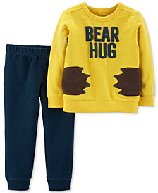 Carter's Baby Boys 2-Pc. Bear Hug Graphic Top & Jogger Pants Set