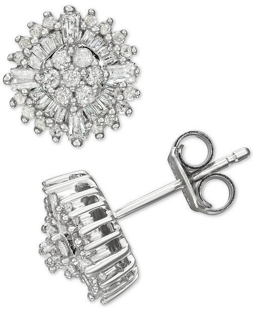 Macy's Diamond Burst Stud Earrings (1/2 ct. t.w.) in Sterling Silver