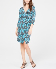I.N.C. Petite Geo-Print Wrap Dress, Created for Macy's