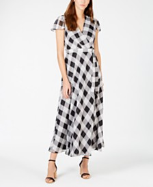 I.N.C. Printed Faux-Wrap Midi Dress, Created for Macy's