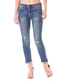 Nicole Miller New York Tribeca Mid-Rise Ankle Skinny Jeans with Rolled Cuff