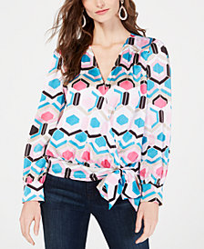 I.N.C. Petite Printed Faux-Wrap Top, Created for Macy's