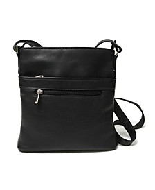 Royce Triple Zip Crossbody Bag in Colombian Genuine Leather