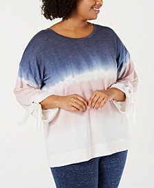 Ideology Plus Size Tie-Dyed Tie-Sleeve Top, Created for Macy's