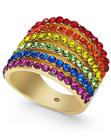 I.N.C. Gold-Tone Rainbow Pavé Multi-Row Ring, Created for Macy's