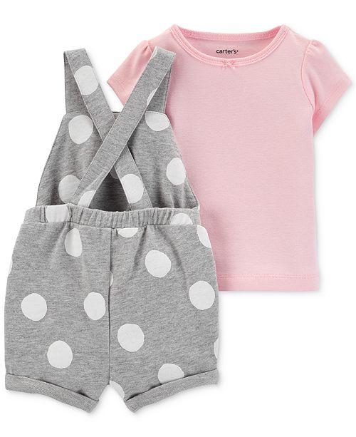 d007c74c Carter's Baby Girls 2-Pc. Cotton T-Shirt & Dot-Print Shortall Set ...