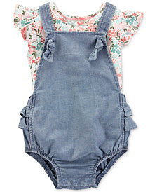 Carter's Baby Girls 2-Pc Floral-Print Flutter Cotton T-Shirt & Denim Shortall Set