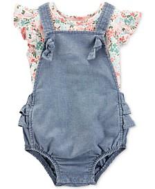 35561456 Carter's Baby Girls 2-Pc Floral-Print Flutter Cotton T-Shirt & Denim