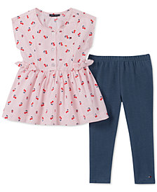 Tommy Hilfiger Toddler Girls 2-Pc. Printed Tunic & Denim Leggings Set