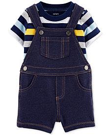 Carter's Baby Boy 2-Pc. Cotton T-Shirt & Denim-Look Shortalls Set