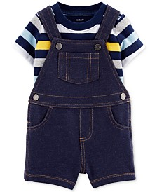Carter's Baby Boy 2-Pc. Cotton T-Shirt & Denim-Look Shortalls Set