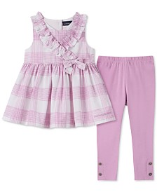 Calvin Klein Little Girls 2-Pc. Printed Tunic & Leggings Set