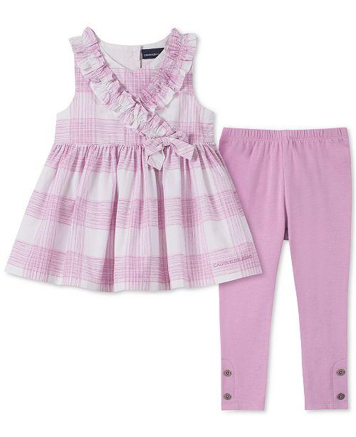 Calvin Klein Little Girls 2-Pc. Printed Tunic & Leggings Set