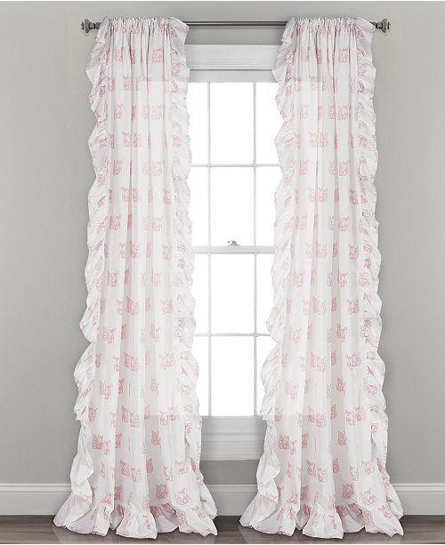 "Lush Decor Ruffle Fox Window Curtain Panels Set, 84"" x 40"""