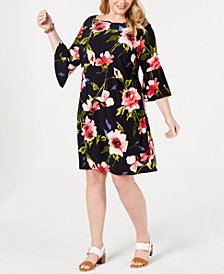 Tommy Hilfiger Plus Size Corsage Floral Bell-Sleeve Dress