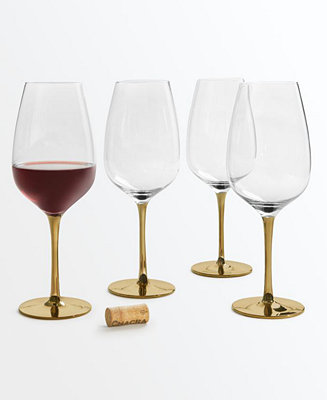Gold Stem Red Wine Glasses, Set Of 4, Created For Macy's by General