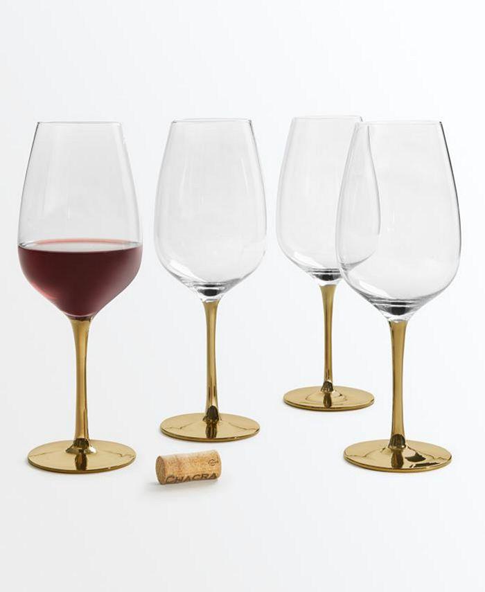 Martha Stewart Collection - Gold Stem Red Wine Glasses, Set of 4