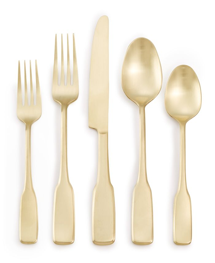 Martha Stewart Collection - Fiddlehead Champagne 20-Pc. Flatware Set, Service for 4