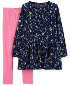 Carter's Little Girls 2-Pc. Flower Bouquet Tunic & Leggings Set