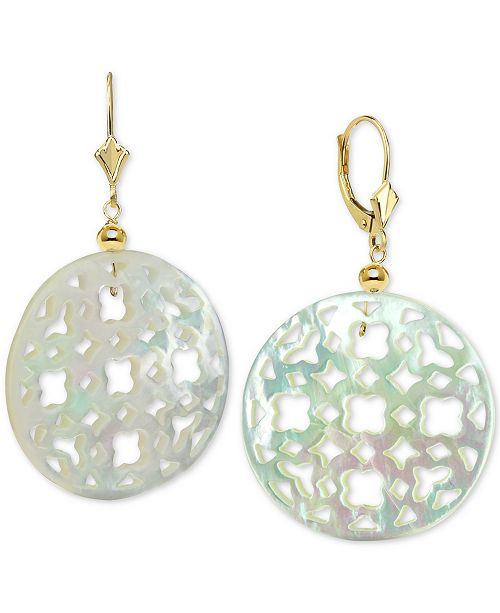 Macy's Mother of Pearl (30mm) Cutout Disc Drop Earrings in 14k Gold