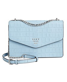 DKNY Whitney Leather Croc Shoulder Flap, Created for Macy's