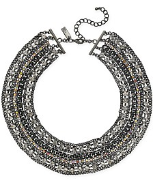 "I.N.C. Hematite-Tone Crystal Collar Necklace, 16"" + 3"" extender, Created for Macy's"